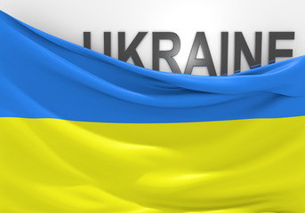 Ukraine flag and country name