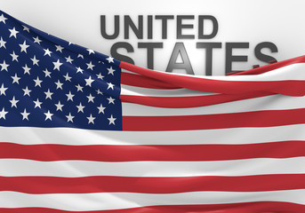 United States flag and country name