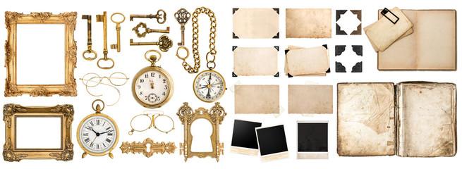 Obraz Antique book, aged paper, golden keys. Collection of vintage obj - fototapety do salonu
