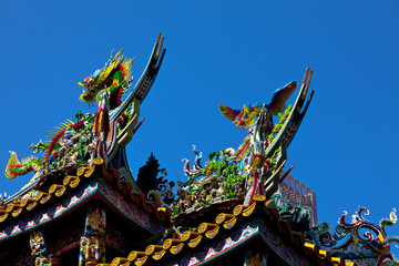 Colorful carvings on roof of Japanese temple in Yokohama