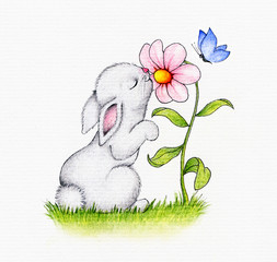Cute bunny and flower