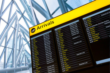 Check in, Airport Departure & Arrival information board sign