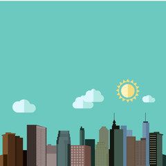 Flat design city landscape illustration