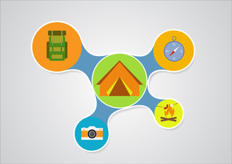 Camping graphic in round style, outdoor elements on multicolor