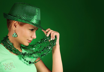 St Patrick's day Girl. Young woman wearing green hat