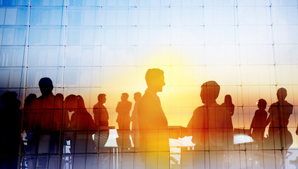 Silhouette Global Business People Meeting Concept Wall mural