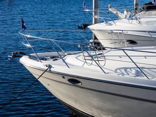 Yachts moored at marina