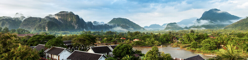 View for panorama in Vang Vieng, Laos.