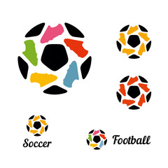 Logos soccer ball and football boots constituents a star