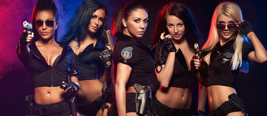 Group of sexy woman like police woman