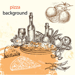 hand-drawn sketch illustration pizza