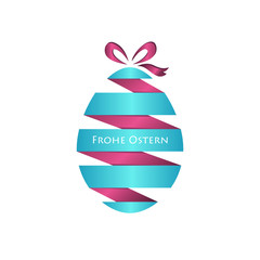Vector paper easter egg with bow and text
