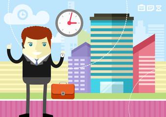 Happy businessman showing clock