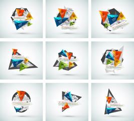 Set of triangle shape modern paper infographics