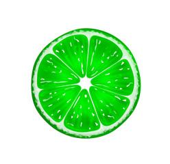 Slice of fresh citrus lime isolated on white background