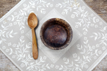 Fasting. Lent. Empty cup with spoon
