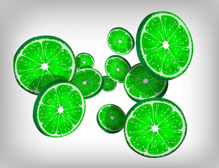 Slices of fresh citrus lime falling and flying