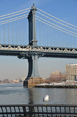 Manhattan Bridge in the winter 2015, New York City, USA