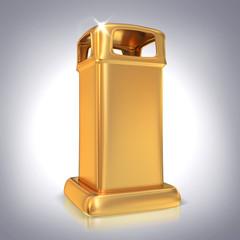 Golden mailbox  on grey  background.