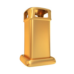 Golden mailbox on white  background.