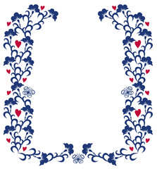 Blue floral background with hearts
