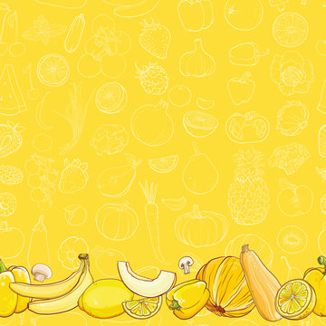 Set of yellow fruits and vegetables on light yellow background
