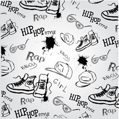 seamless vector background hip hop style accessories