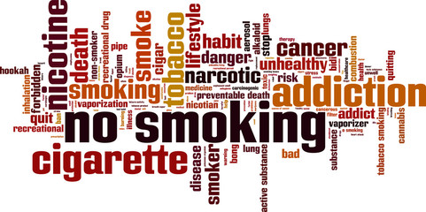 No smoking word cloud concept. Vector illustration