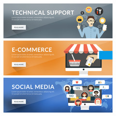 Concept for technical support, e-commerce, social media