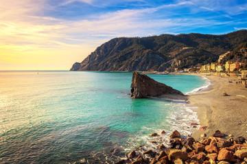 Monterosso beach and sea bay. Five lands, 5 terre, Ligury Italy