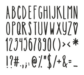 Tall And Skinny Handwriting Alphabet, Numbers And Symbols Set 1