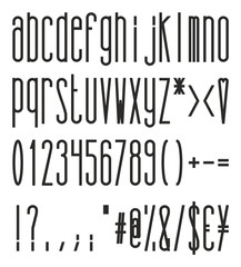 Tall And Skinny Bold Small Alphabet, Numbers And Symbols