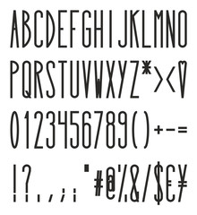 Tall And Skinny Bold Alphabet, Numbers And Symbols