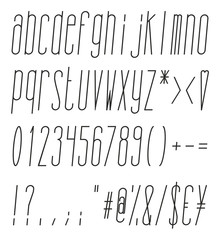 Tall And Skinny Italic Small Alphabet, Numbers And Symbols