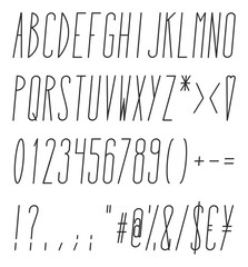 Tall And Skinny Italic Alphabet, Numbers And Symbols