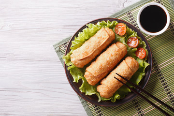 fried spring rolls on a plate with salad, horizontal top view