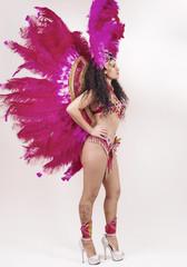 Brazilian samba dancer wearing traditional pink costume profile