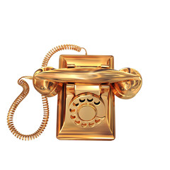 Golden phone on white isolated background.