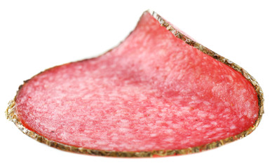 Wall Mural - Slice of salami isolated on white background