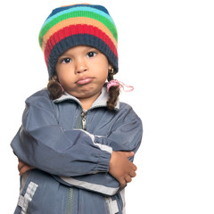 Mixed race little girl with a rapper attitude