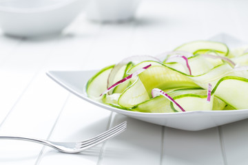 fresh healthy salad of cucumber