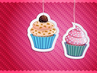 delicious cupcake stickers on colorful background