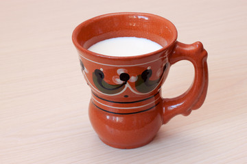 mug with milk on the table