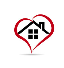 House and heart vector web logo