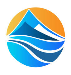 Mountains and sun logo vector