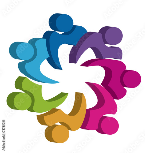 quotteamwork unity 3d people logo design template icon vector