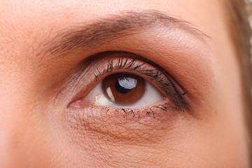 Girls` eye, closeup shot in studio