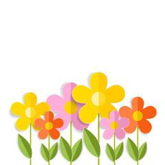 3d spring flowers isolated on white. Vector EPS 10.