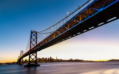 Fototapete - SF Bay Bridge at Sunset
