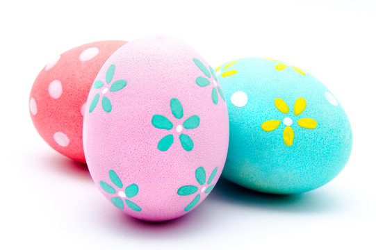 Three colorful handmade easter eggs isolated